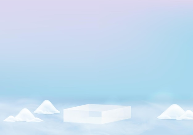 Queda de natal brilhando cena mínima de neve com plataforma de inverno de pedestal. pedestal inverno feriados gelo neve fundo renderização com pódio. estande para mostrar o produto. inverno é palco