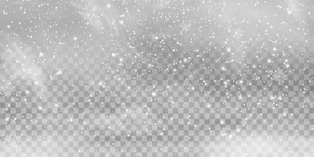 Queda de natal brilhante transparente linda, pouca neve isolada em fundo transparente. flocos de neve, fundo de neve. queda de neve pesada em vetor, flocos de neve em diferentes formas e formas.