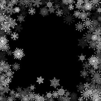 Queda de neve com flocos de neve aleatórios no escuro