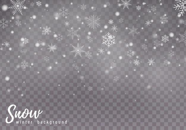 Queda de neve de natal, flocos de neve, forte nevasca
