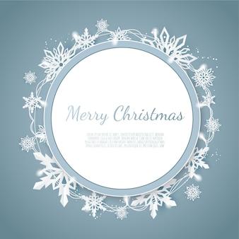 Queda de neve de origami, cartão de felicitações de feliz natal, flocos de neve cortados em papel branco,