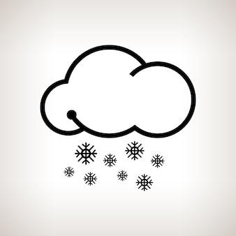 Queda de neve de silhueta, nuvens com flocos de neve em um fundo claro, ilustração em vetor preto e branco