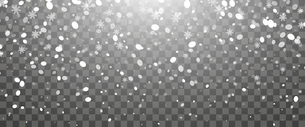 Queda de neve e flocos de neve caindo em fundo transparente. flocos de neve brancos e neve de natal. ilustração vetorial