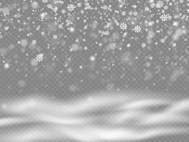 Queda de neve, elementos de flocos brancos e frios
