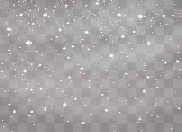 Queda de neve, flocos de neve em diferentes formas e formas.