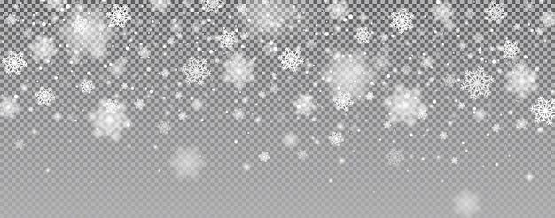 Queda de neve mágica da véspera de natal do vetor flocos de neve com glitter branco caindo sobre um fundo transparente