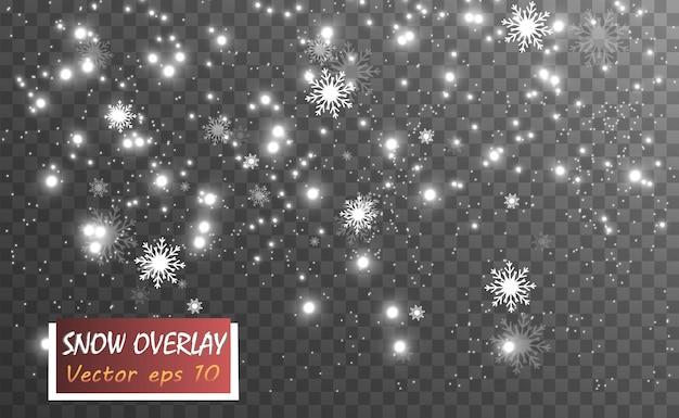 Queda de neve. muita neve em um fundo transparente. flocos de neve caindo do céu.