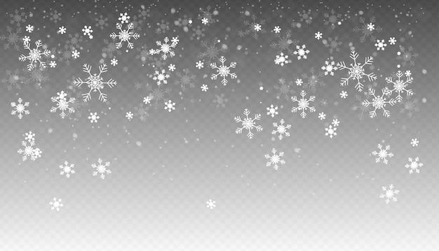Queda de neve, neve caindo realista perfeita, flocos de neve em diferentes formas e formas, clima de inverno.