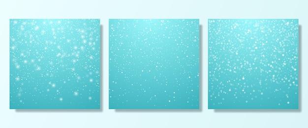 Queda de neve neve fundo um conjunto de modelos para o projeto de fundo de natal com flocos de neve