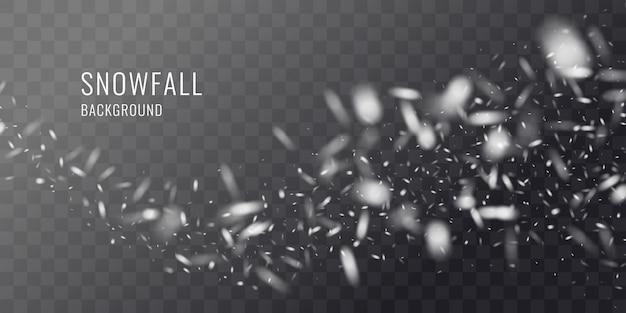 Queda de neve realista de vetor contra um fundo escuro. elementos transparentes para cartazes e cartões de inverno.
