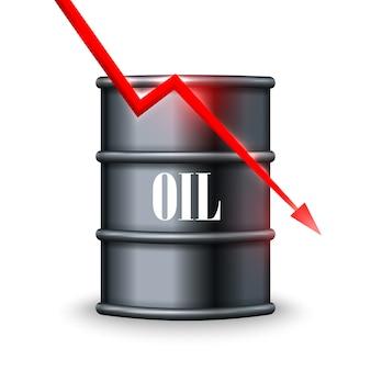 Queda de preço do petróleo. ilustração vetorial