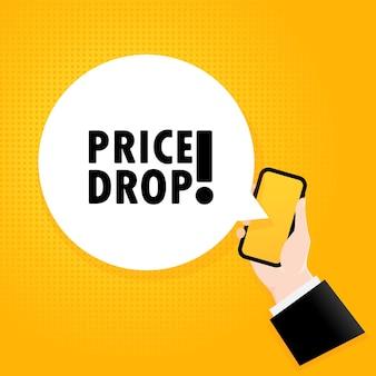 Queda de preço. smartphone com um texto de bolha. cartaz com queda de preço de texto. estilo retrô em quadrinhos. bolha do discurso do app do telefone.