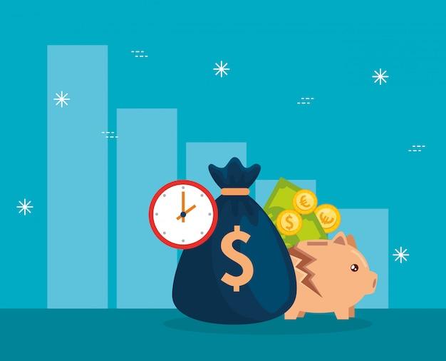 Queda do mercado de ações com cofrinho e ícones de negócios
