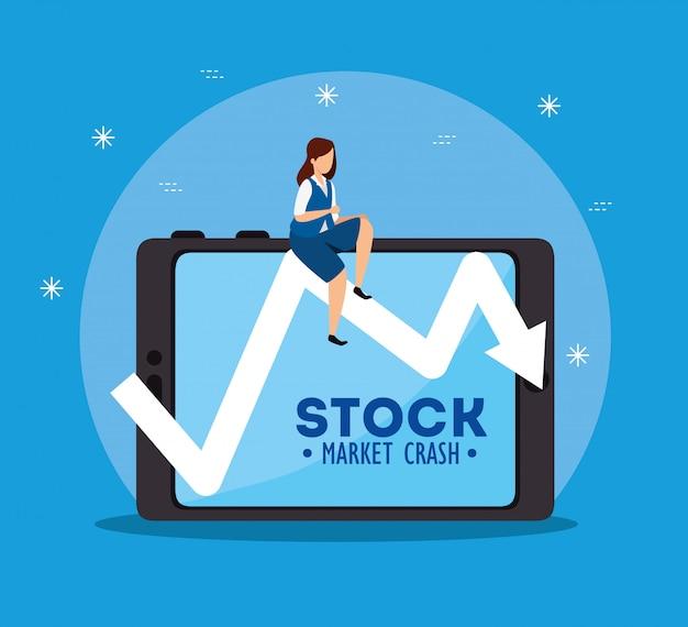 Queda do mercado de ações com empresária e tablet
