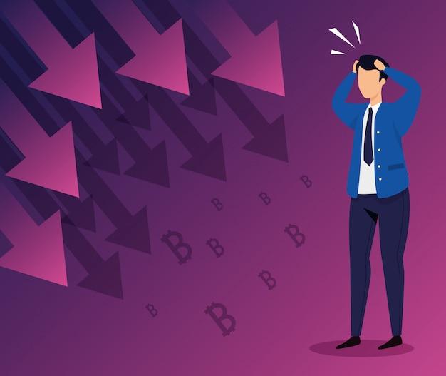 Queda do mercado de ações com empresário preocupado e flechas para baixo