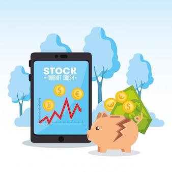 Queda do mercado de ações com o tablet