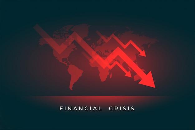Queda do mercado de ações da economia devido à crise financeira