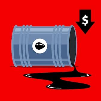 Queda dos preços do petróleo. seta para baixo do dólar. ilustração.