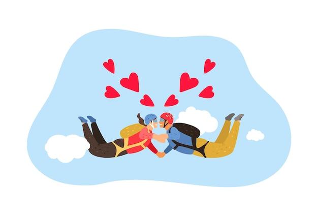 Queda livre. passatempo de paraquedismo, casal se apaixonando por metáfora.