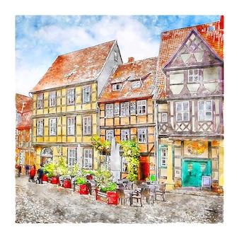 Quedlinburg alemanha ilustração em aquarela de esboço desenhado à mão