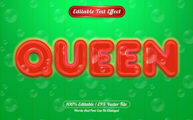 Queen editável com efeito de texto leve e temático de bolha