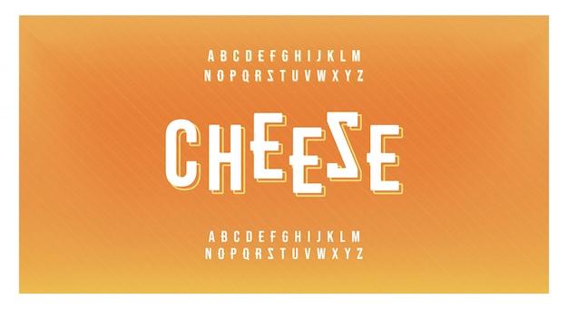 Queijo comida mínima fonte criativa moderna alfabeto