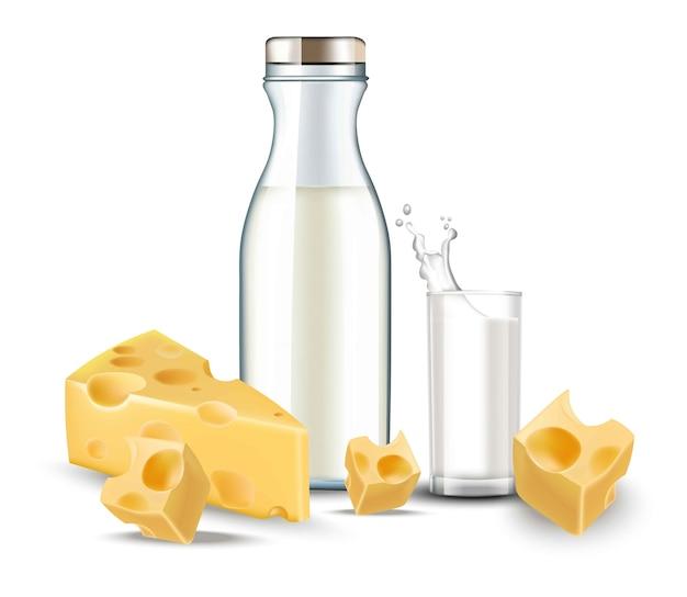Queijo e leite realista. comida diária detalhada bio orgânica