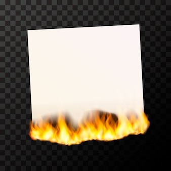 Queima de folha de papel branco em branco brilhante com chamas de fogo