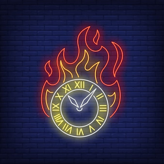 Queima de sinal de néon de relógio