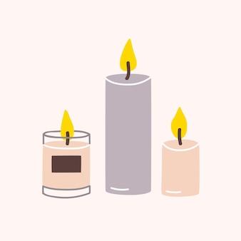 Queima de velas aromáticas de cera ou parafina para aromaterapia isoladas em um fundo claro