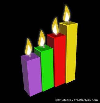 Queima de velas coloridas vetor