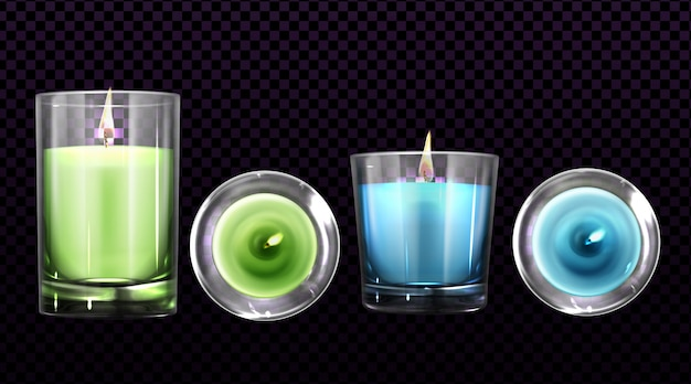 Queima de velas em frascos de vidro vista frontal e superior