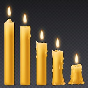 Queima de velas. vela de cera com fogo flicker. conjunto de festa de aniversário romântico