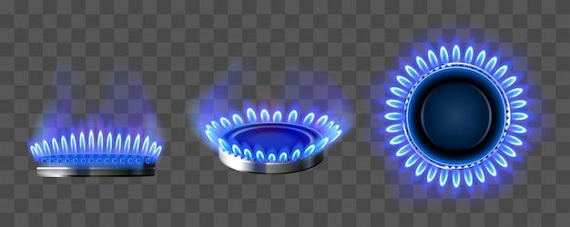 Queimador de gás com fogo azul na vista superior e lateral