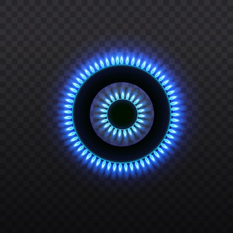 Queimadores de gás, chama azul, vista superior em um fundo transparente
