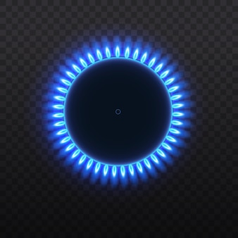 Queimadores de gás, chama azul, vista superior isolada em um fundo transparente.
