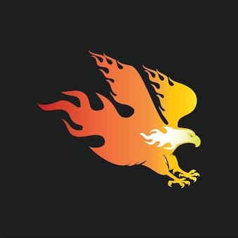 Queimando falcão ilustração vetorial ícone vida selvagem voando ideia de elemento gráfico de silhueta de animal