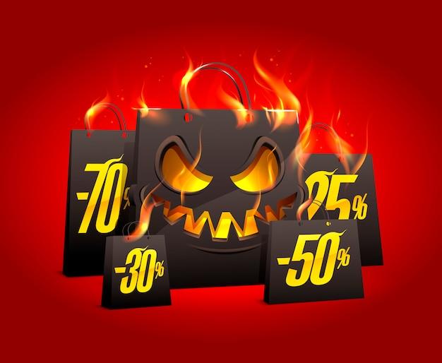 Queimando sacos de papel preto assustador com descontos por cento