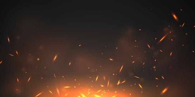 Queimando vermelho quente faíscas chamas de fogo realistas abstrato