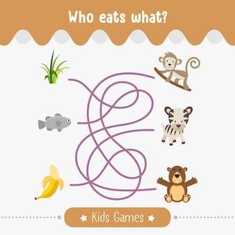 Quem come qual labirinto para crianças, jogos educativos