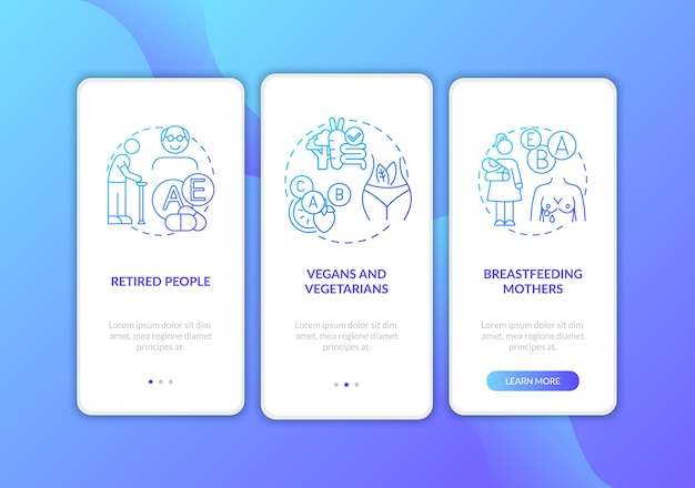 Quem deve tomar vitaminas na tela da página do aplicativo móvel com conceitos.
