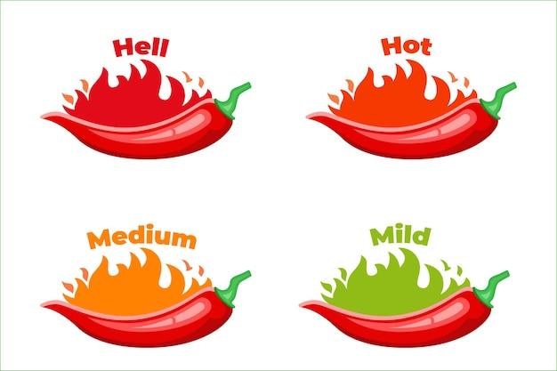Quente, rótulos de nível de pimenta malagueta, ícone de pacote de molho de pimenta vermelha queimando.