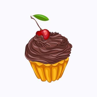 Queque de baunilha de estilo dos desenhos animados com creme de chocolate e ícone de vetor de cereja.
