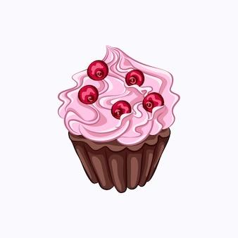 Queque de chocolate de estilo desenho animado com chantilly rosa e ícone de vetor de baga vermelha isolado.