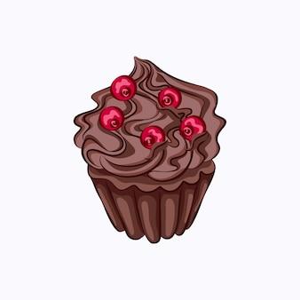 Queque de chocolate de estilo desenho animado com ganache de creme chantilly e ícone de vetor de baga vermelha.