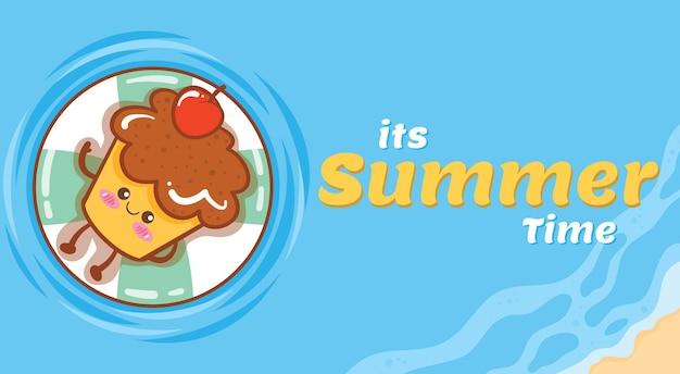 Queque fofo flutuando e relaxe com um banner de saudação de verão