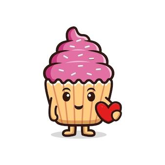 Queque fofo segurando o coração. ilustração do ícone do personagem de comida