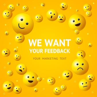 Queremos feedback com ilustração de sorriso