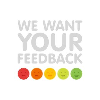 Queremos o seu sinal de feedback com ilustração vetorial de emoticons