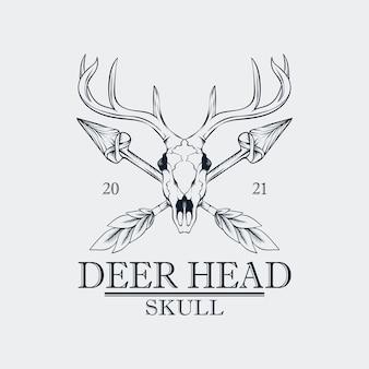 Querida cabeça de caveira logotipo vintage